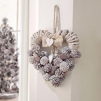 Adventskranz In Herzform Mit Tannenzapfen Weihnachtskranz Turkranz