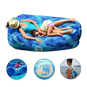 Aireloon Tumbona Inflable con malla interior para sujeción lumbar, sofá hinchable con estacas de fijación y almohada, Hamaca de Nylon gran calidad
