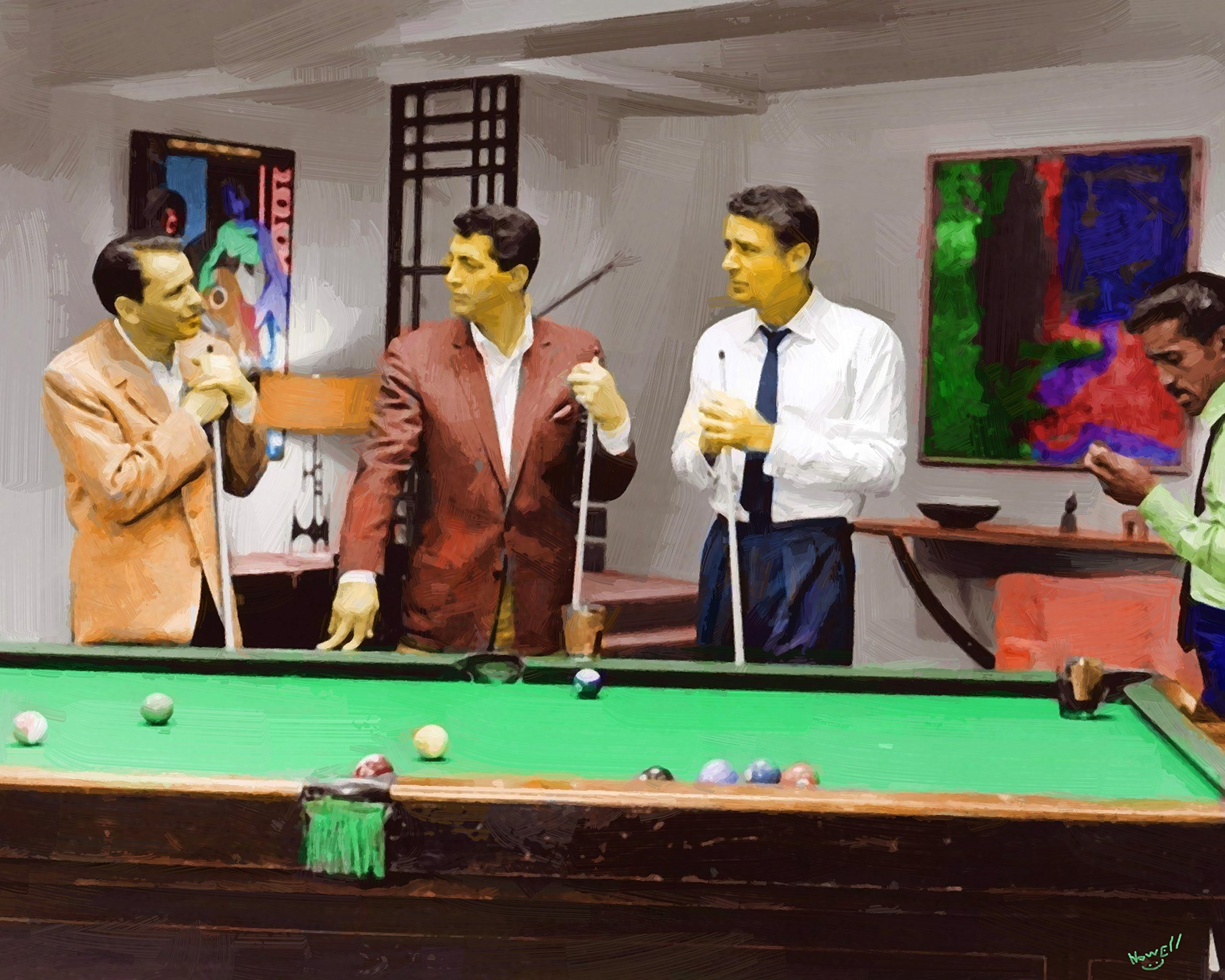 Rat Pack Pool A 16 x 20 Canvas Oil Painting Playing Pool Frank Sinatra Dean Martin Sammy Davis Jr, Peter Lawford Unframed Signed & Numbered Limited Edition From Movie Oceans 11