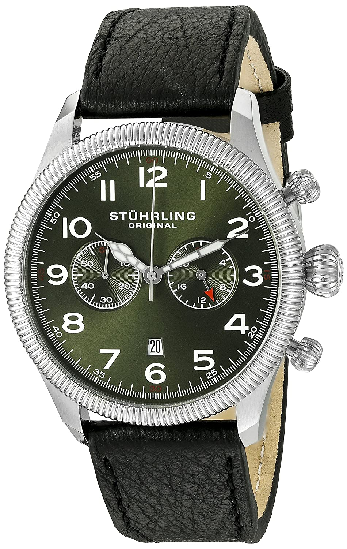 Stuhrling Original Men s 482.33155 Champion Victory Velo Quartz Chronograph Date Green Dial Watch