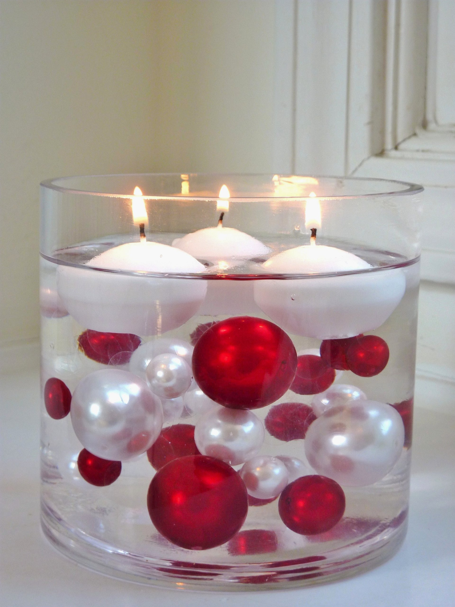 40 Floating Unique Christmas Holiday Jumbo/Assorted Sizes Green, White Pearls, Red, Green and Sparkling Gems Vase Fillers for Decorating Centerpieces + Free Transparent Water Gels Jumbo Packet by Vase Pearlfection (Image #1)
