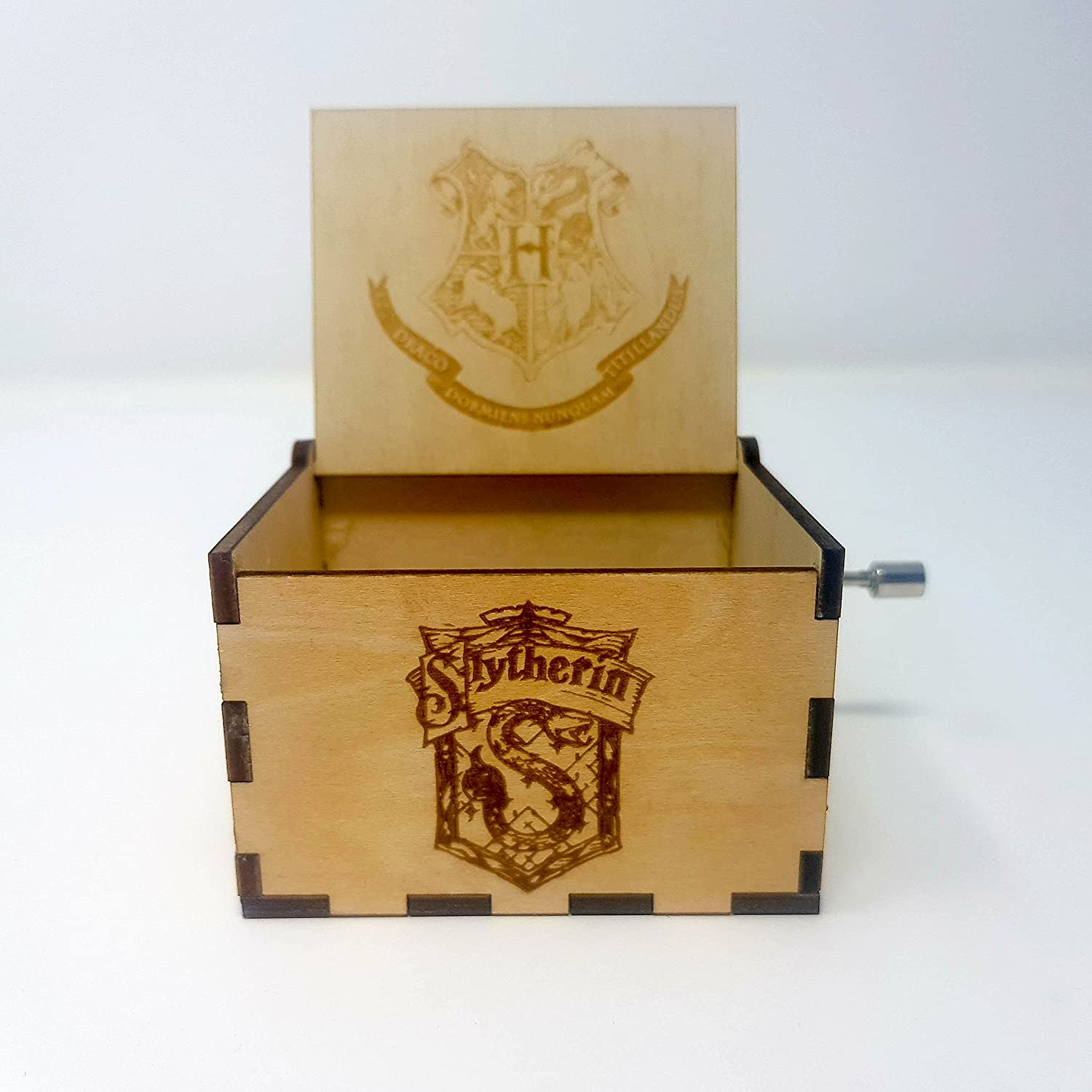 ASVP Shop Harry Potter Theamed Music Box Plays The Harry Potter Theme Song Made from Wood With House Badges