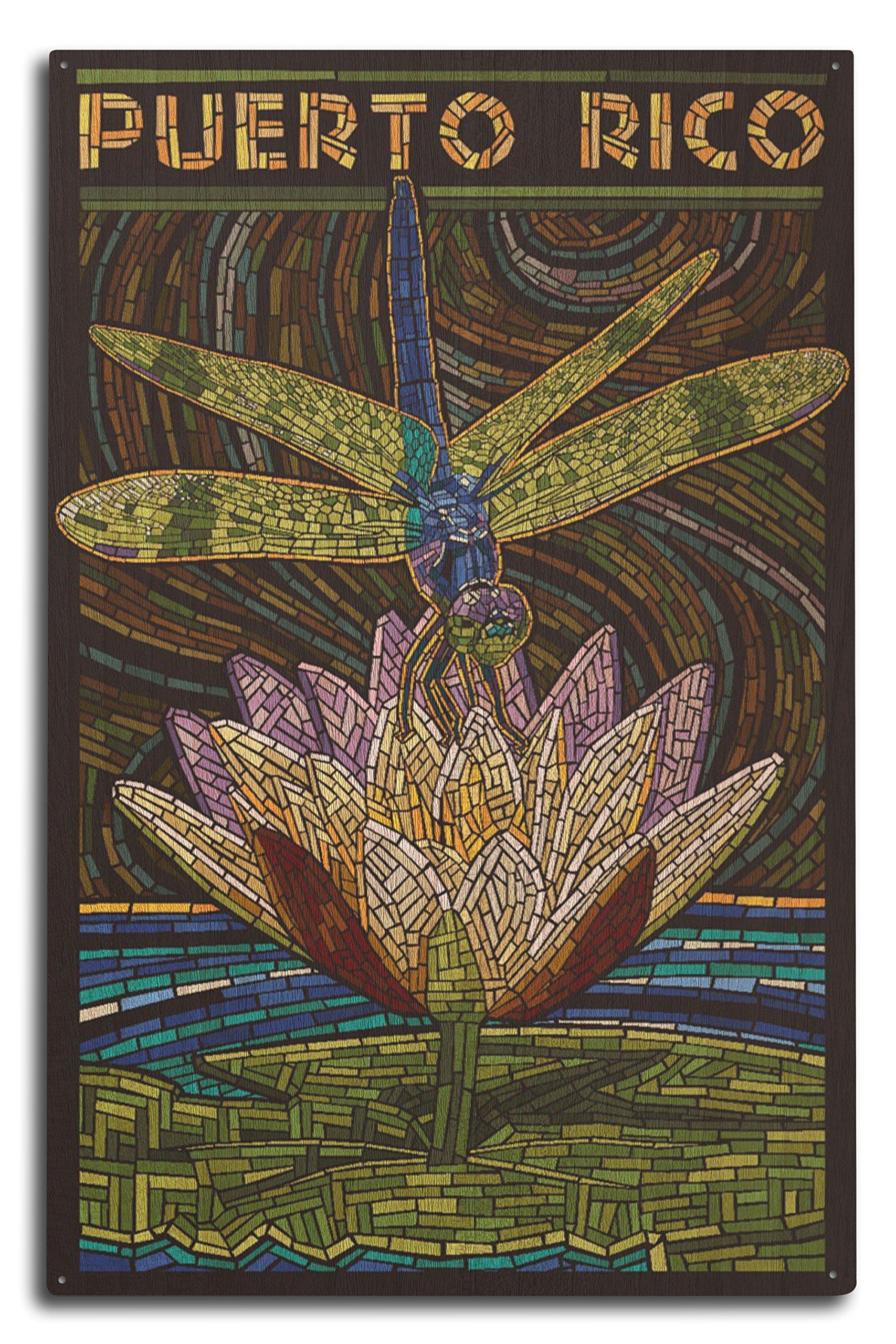 Lantern Press Puerto Rico - Dragonfly Mosaic (10x15 Wood Wall Sign, Wall Decor Ready to Hang)