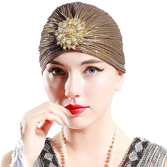 1930s Style Hats | 30s Ladies Hats BABEYOND Womens Ruffle Turban Hat Knit Turban Headwraps with Detachable Crystal Brooch for 1920s Gatsby Party $11.99 AT vintagedancer.com