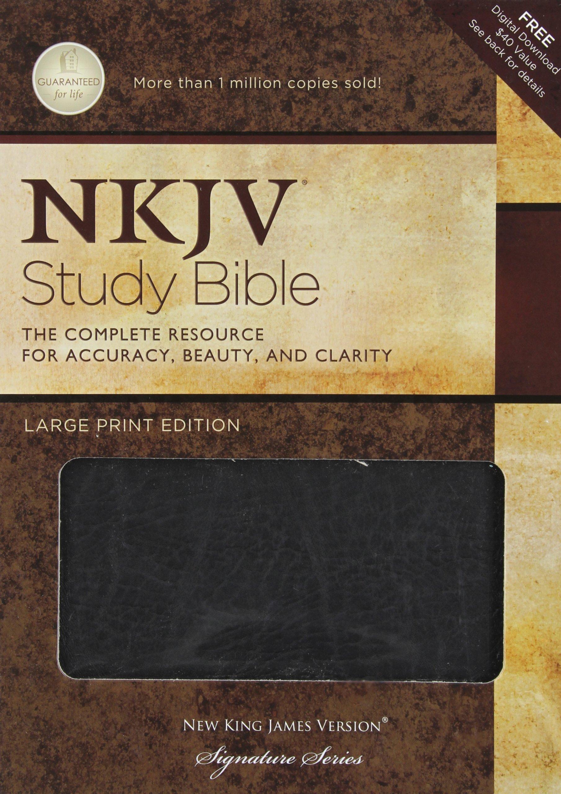 NKJV Study Bible, Large Print, Bonded Leather, Black: Large Print Edition