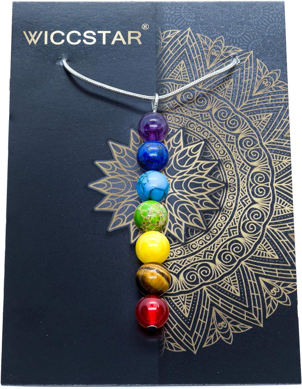 WICCSTAR 925 Plata Collares Chakra Piedra Natural Sanación Reiki Yoga
