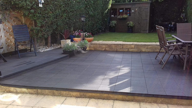Sloping Garden Black Decking Tiles