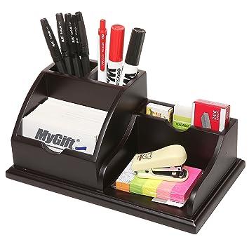 MyGift Wooden Desktop Office Supply Organizer Caddy / Pens Business Card  Holder / Memo Pad Rack