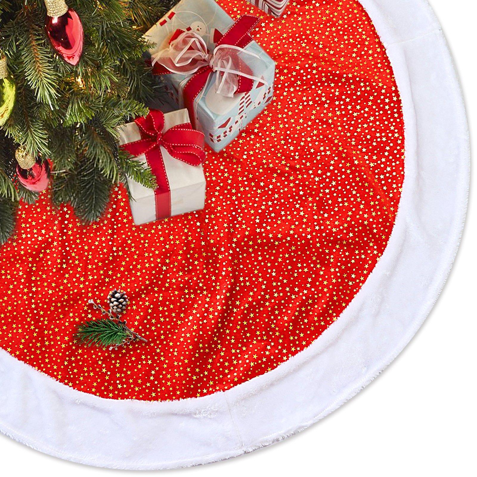 LimBridge 48'' Classic Shining Golden Stars Red Plush Christmas Tree Skirt with White Fur Trim Xmas Holiday Decoration by LimBridge
