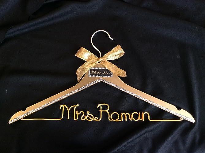 Amazon.com: bride gold hanger,wedding hanger, date on top hanger ...