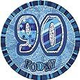 (Blue, Age 90) - Unique Party 15cm Glitz Blue Giant 90th Birthday Badge