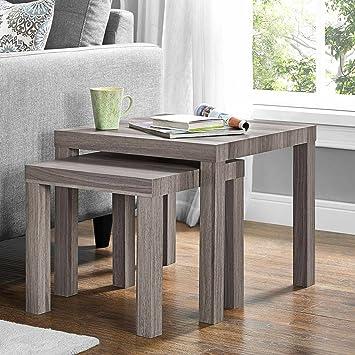 Contemporary Sturdy Design Hollowcore Construction Multi Use 2 Piece Nesting  Tables (Rustic Oak