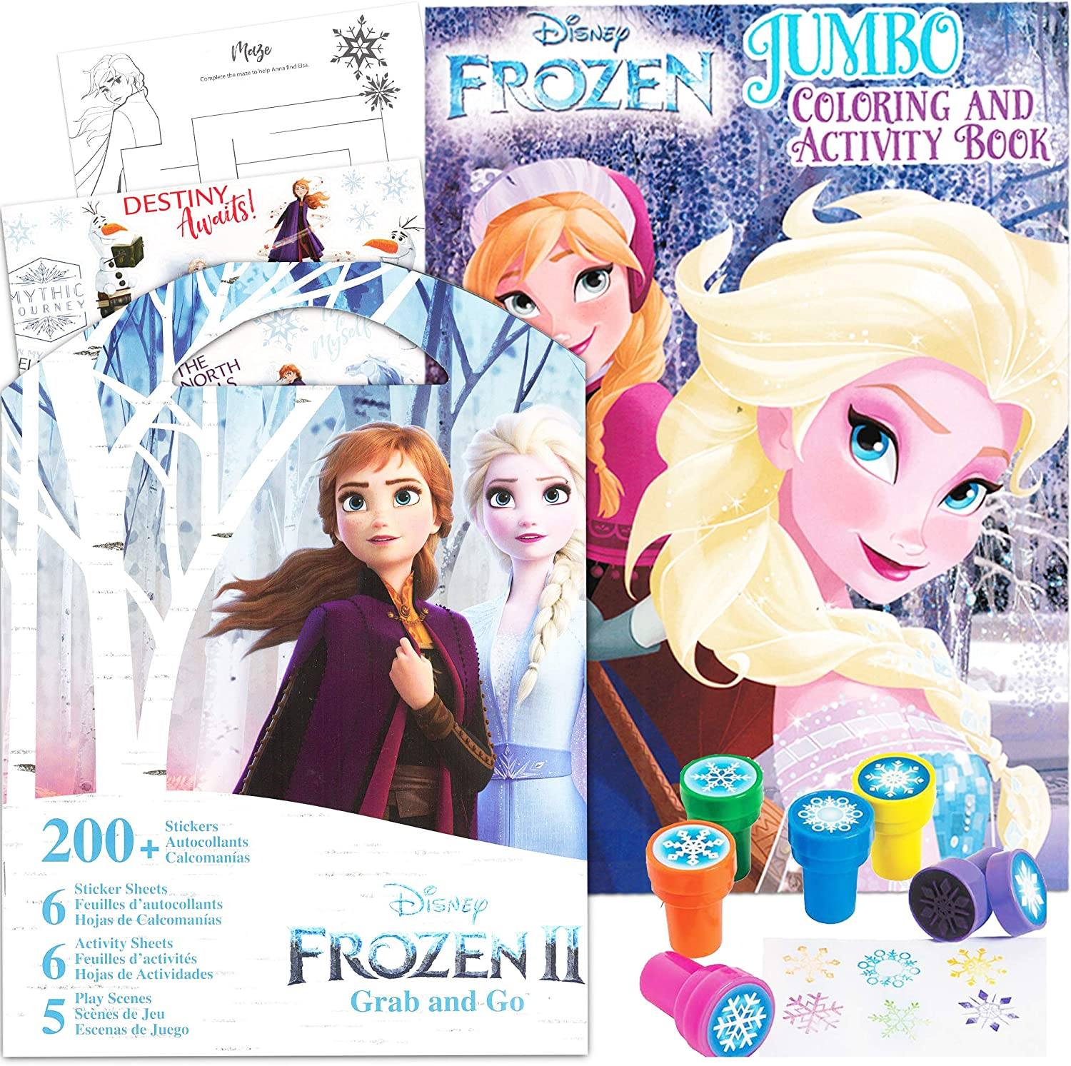 Disney Frozen Coloring Book Activity Set for Girls Kids Toddlers -- Bundle Includes Frozen Stickers and Snowflake Stampers (Disney Frozen Party Supplies)