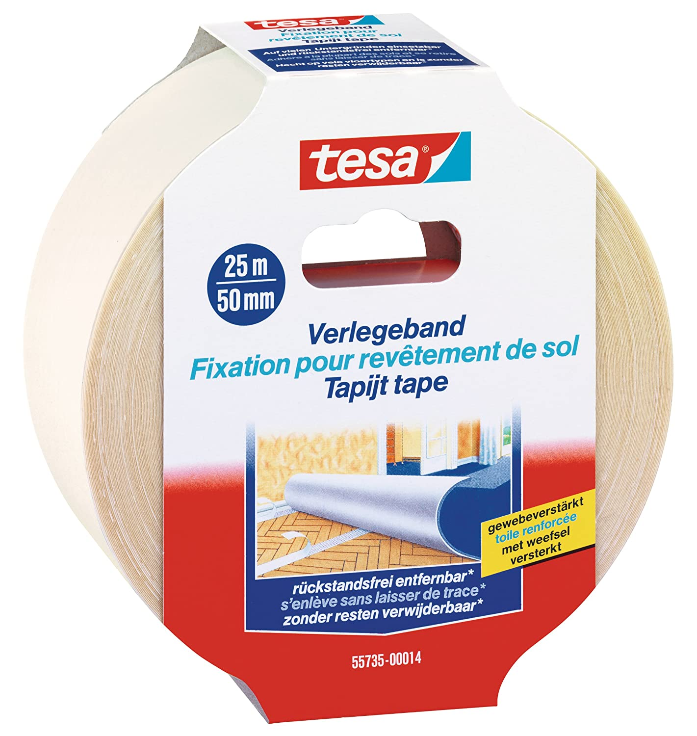 Tesa 55731-11 Flooring Tape With Residue-Free Removal, White, 10 m x 50 mm
