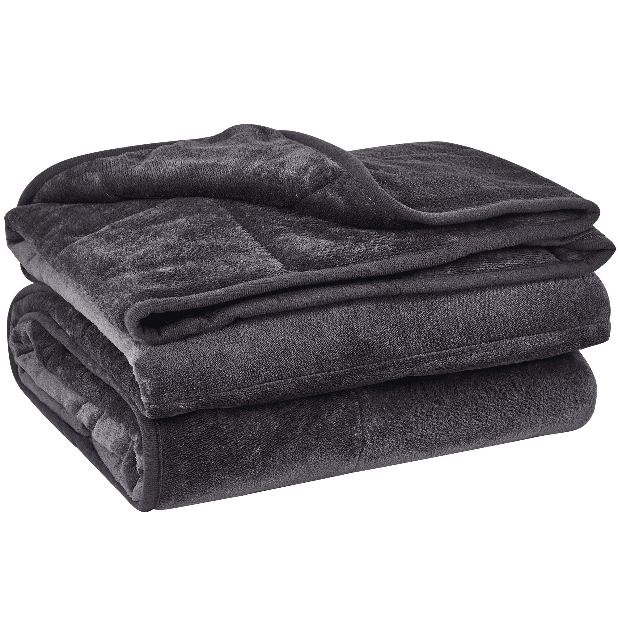 puredown Cozy and Luxury Weighted Blanket for Adults, Youths Heavy Blanket with Glass Beads Flannel Shell Fabric Deliver Durability and Comfort 10 lbs 41'' 60'' Dark Grey