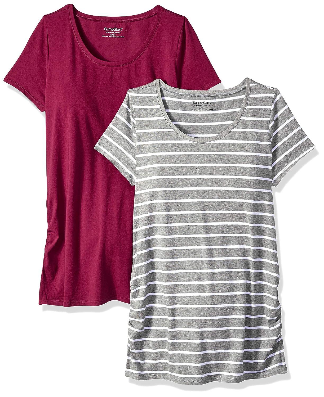 Motherhood Maternity SHIRT レディース B079426M6F Small|Beet Red and Grey/White Stripe Beet Red and Grey/White Stripe Small