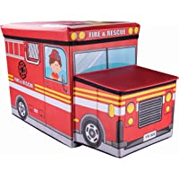 Clever Creations Fire Truck Collapsible Storage Organizer Storage Box Folding Storage Ottoman for Your Bedroom | Perfect Size Storage Chest for Books, Shoes & Games