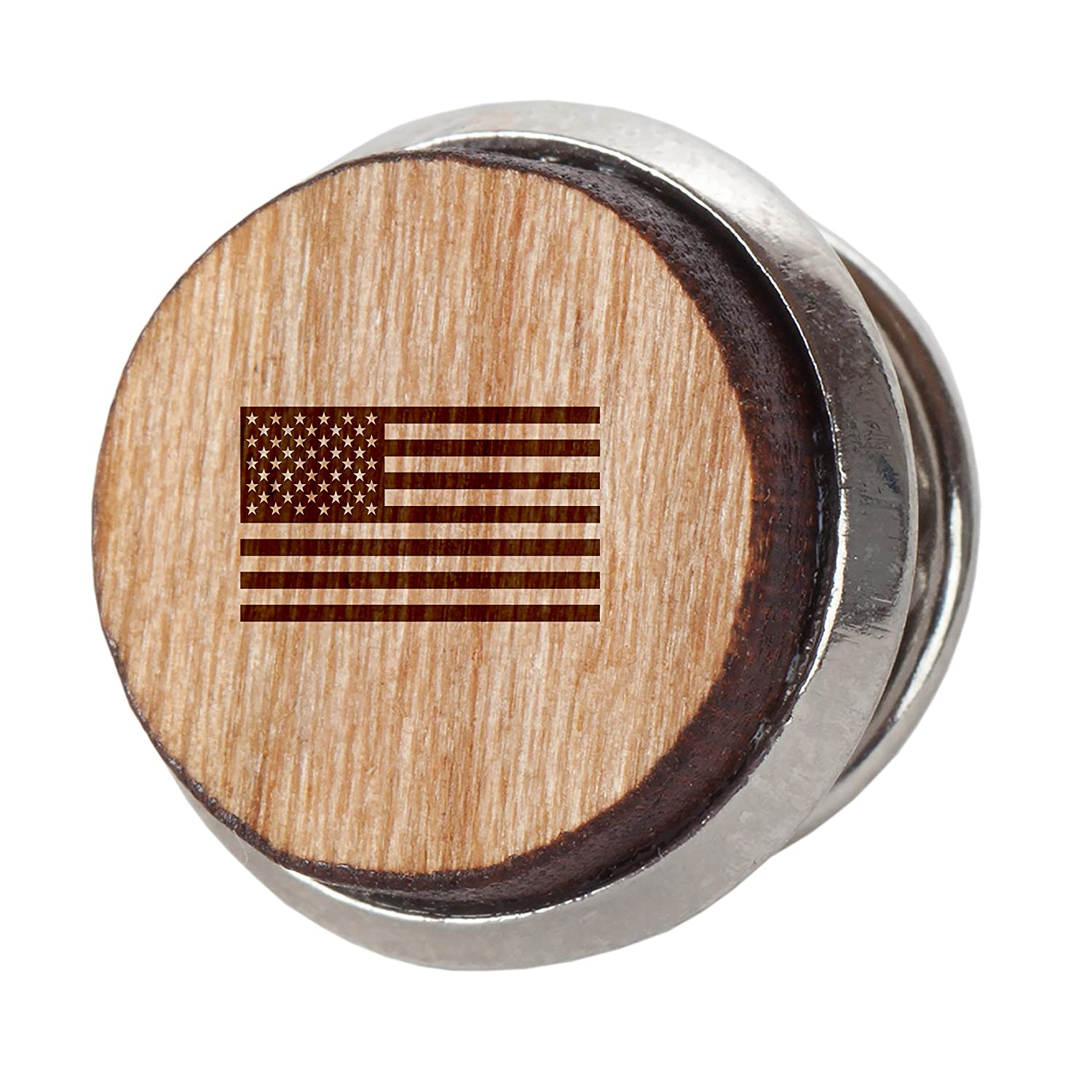12Mm Simple Tie Clip with Laser Engraved Design Engraved Tie Tack Gift American Flag Stylish Cherry Wood Tie Tack