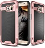 Galaxy S7 Edge Case, E LV Galaxy S7 Edge - Hybrid (Scratch/Dust Proof) Armor Defender Slim Shock-Absorption Bumper Case for Samsung Galaxy S7 Edge- Black / Rose Gold (NOT COMPATIBLE WITH S7)