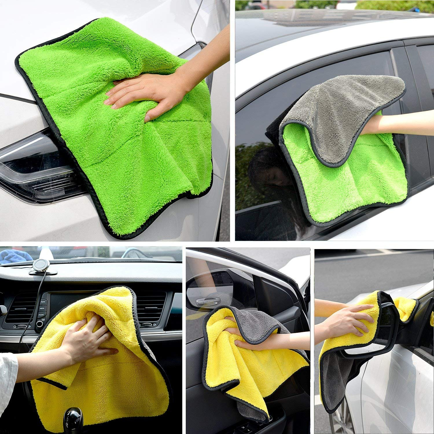 Lint Free Microfiber Dual Layer Ultra-Thick Car Polishing and Drying Cloth Auto Detailing Towels,15 x 17.7 AIVS 850GSM Microfiber Cleaning Cloths 3-pack