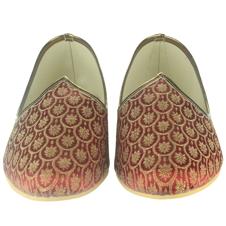 Hombres Caballeros Novio Tradicional Étnico Hecho a mano Boda indio Zapatillas Khussa Jutti Mojari Ponerse Granate Zapatos planos Tamaño 45: Amazon.es: ...