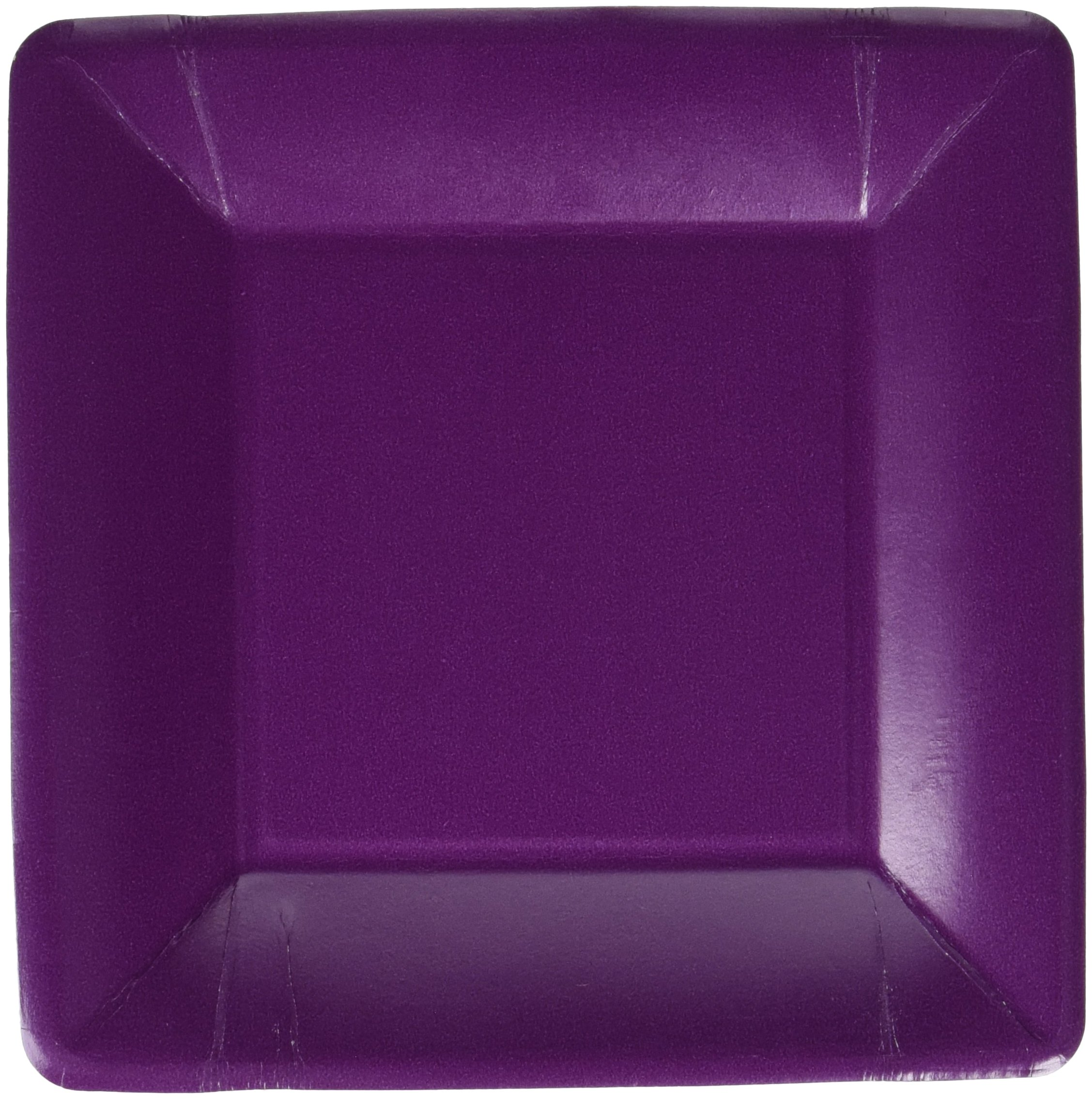 Durable Plain Square Eco Party Plates Tableware, Plum, Paper, 7'' x 7'', Pack of 20