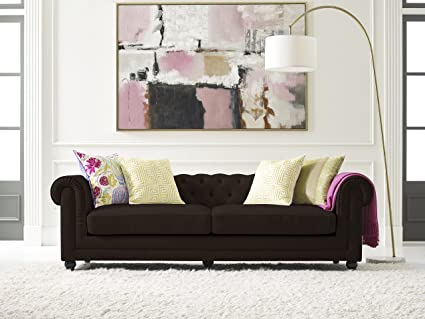 Elle Decor Amery Tufted Sofa, Bonded Leather, Brown