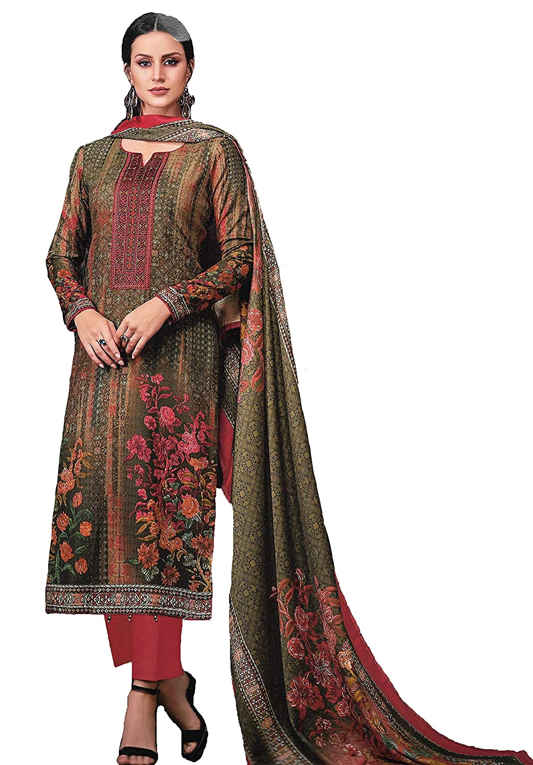 4caa782b4b Elegance Fashion And You Woolen SPUN Pashmina EMBROIDERED UNSTITCHED dress  material with WOOLEN SHAWL for winter for women: Amazon.in: Clothing & ...