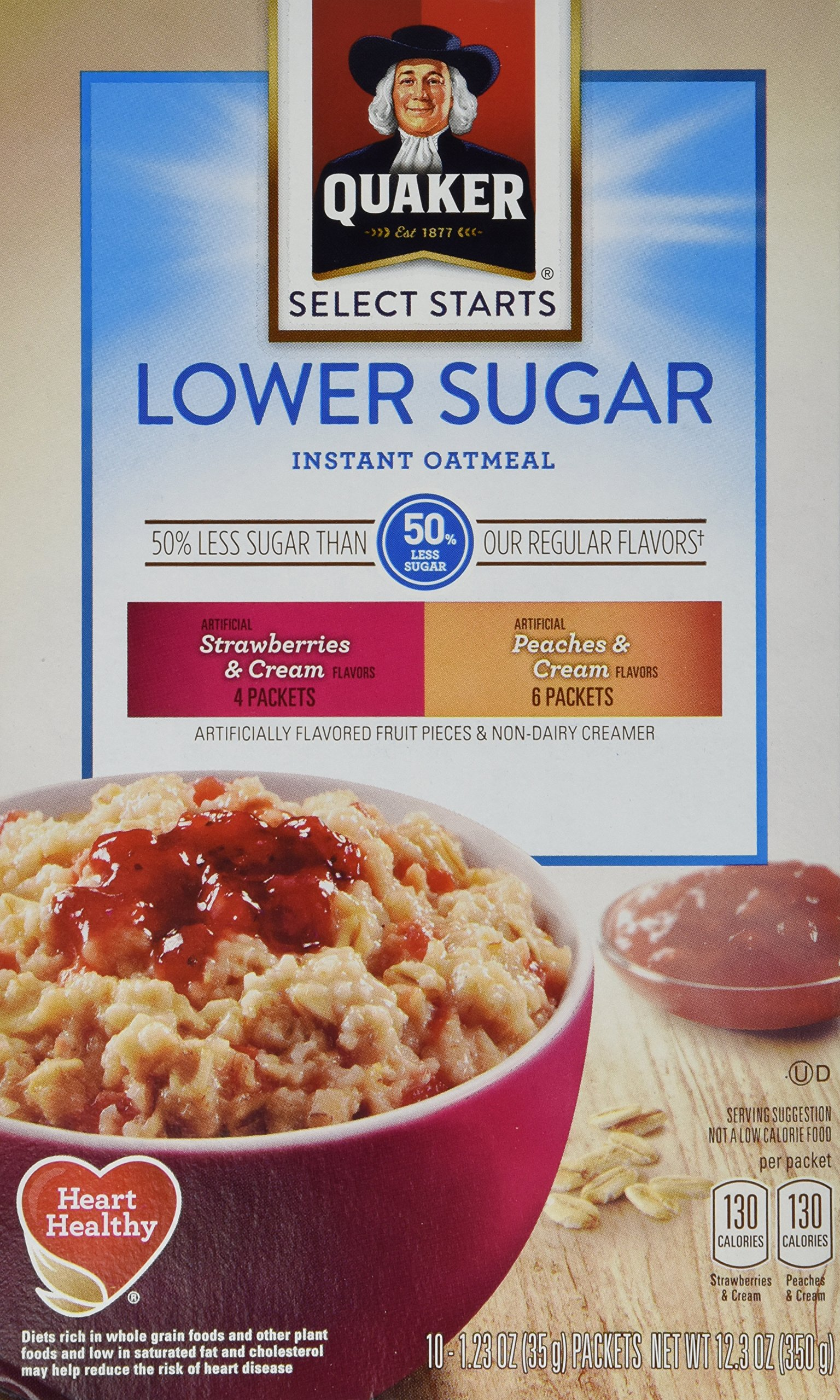 Quaker Instant Oatmeal, Low Sugar Fruit & Cream Variety Pack, Breakfast Cereal, 10 Packets Per Box (Pack of 4) by Quaker (Image #1)