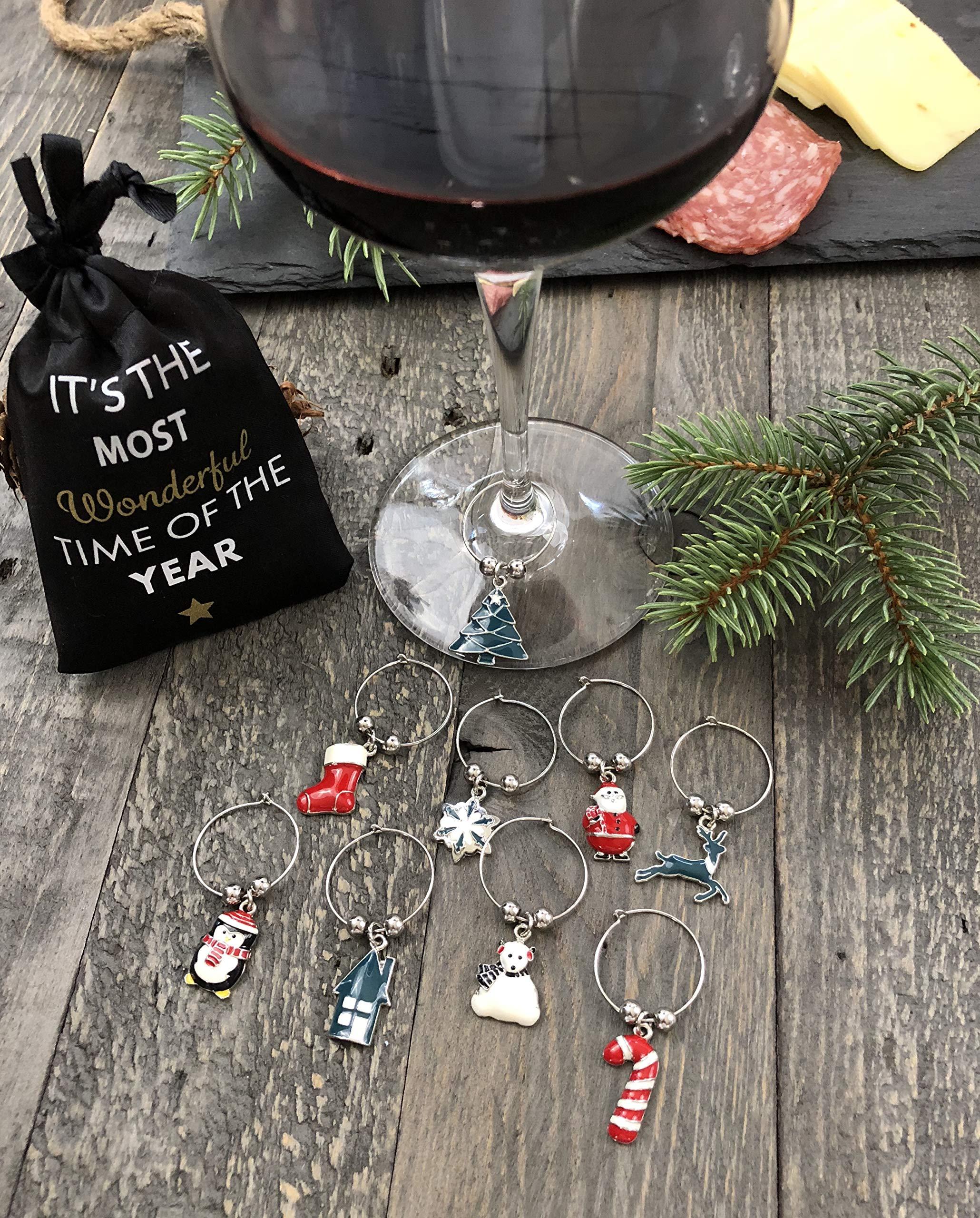 Christmas Holiday Wine Glass Charms, Wine Glass Markers, Christmas Wine Charms – Stocking Stuffers and Christmas Gifts…
