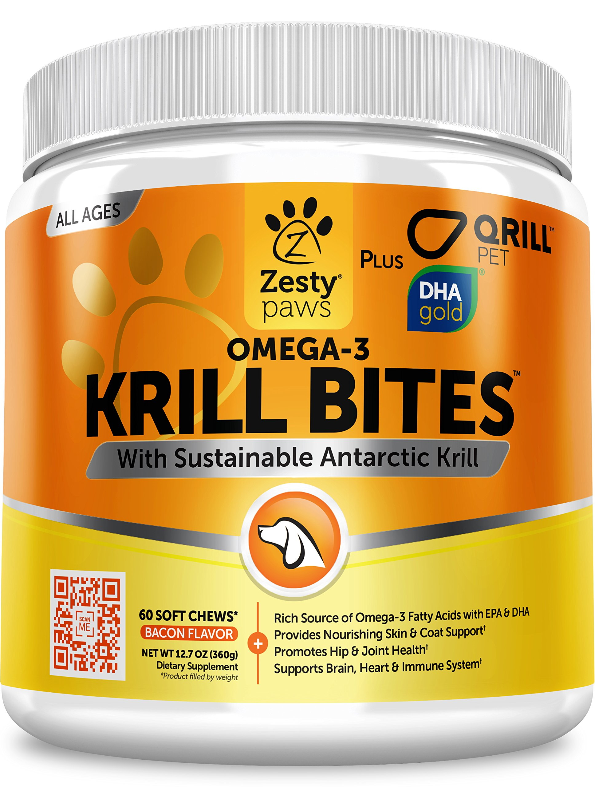 Omega 3 Krill Fish Oil for Dogs - Hip & Joint Arthritis Relief + Skin & Coat Health Supplements - With Qrill Pet Meal & DHAgold + Hemp & Astaxanthin - Brain, Heart & Immune Support - 90 Chew Treats by Zesty Paws