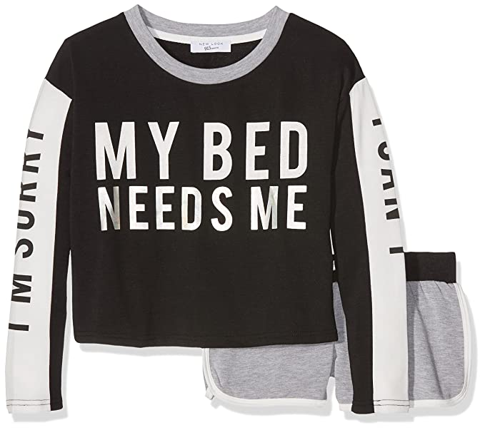 New Look Sorry, Conjuntos de Pijama para Niñas, Negro (Black 01),