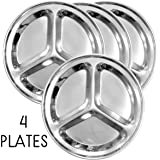 Round Stainless Steel Divided Plates (4-Pack); 9.5-Inch 3-Section Divided Plates for Kids, Camping, Mess Trays & More