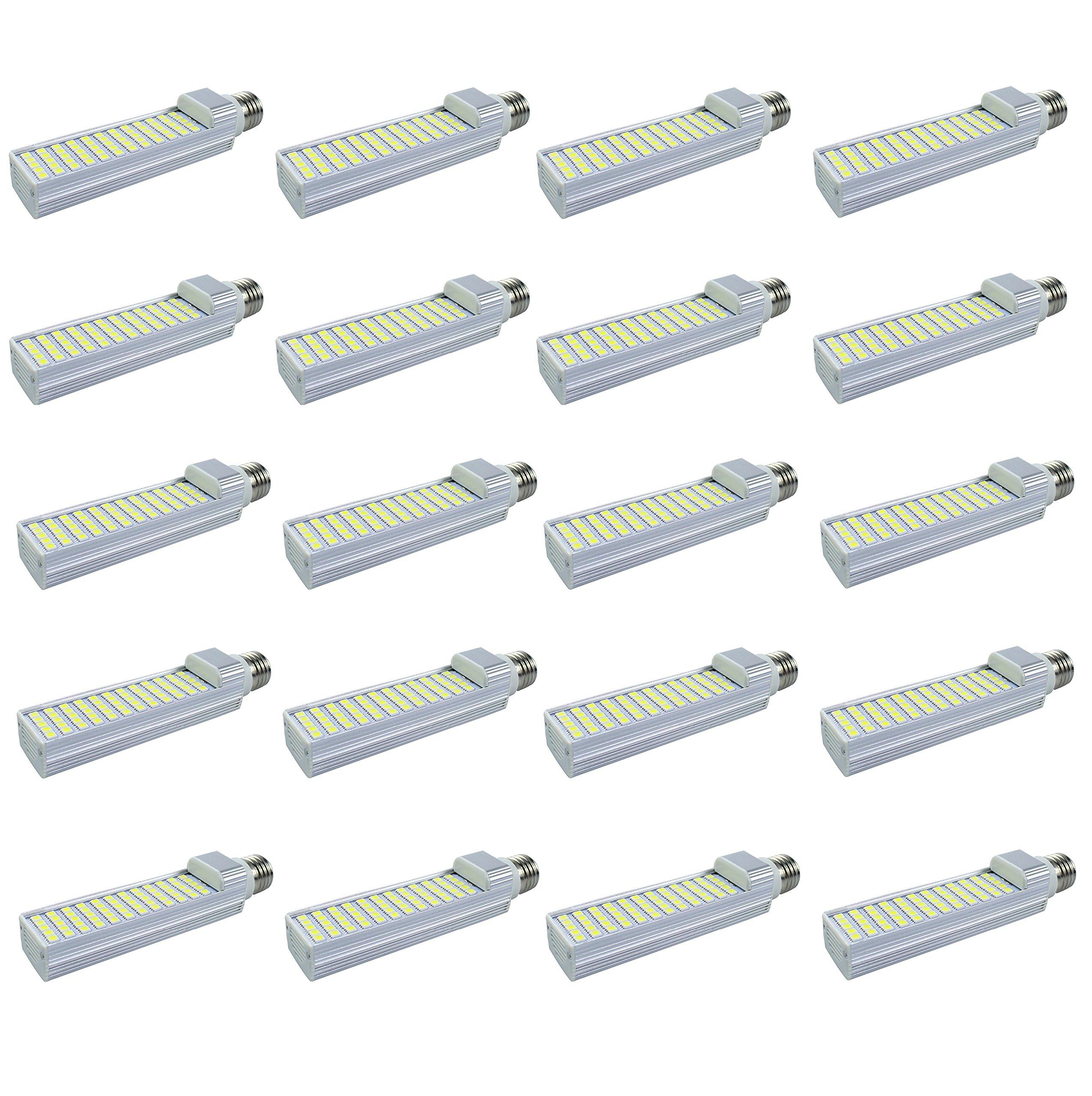 Masonanic LED 12W G24 Compact Fluorescent Lamp Rotatable Aluminum Lamp G24 E26LED CFL/Compact Fluorescent Lamp,30W CFL Equivalent (4000K Natural Daylight White, 20 Pack)