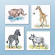 Painted Baby Safari Animals Art Prints. Home/Nursery Decor (8 x10 , (4) Set of Four)