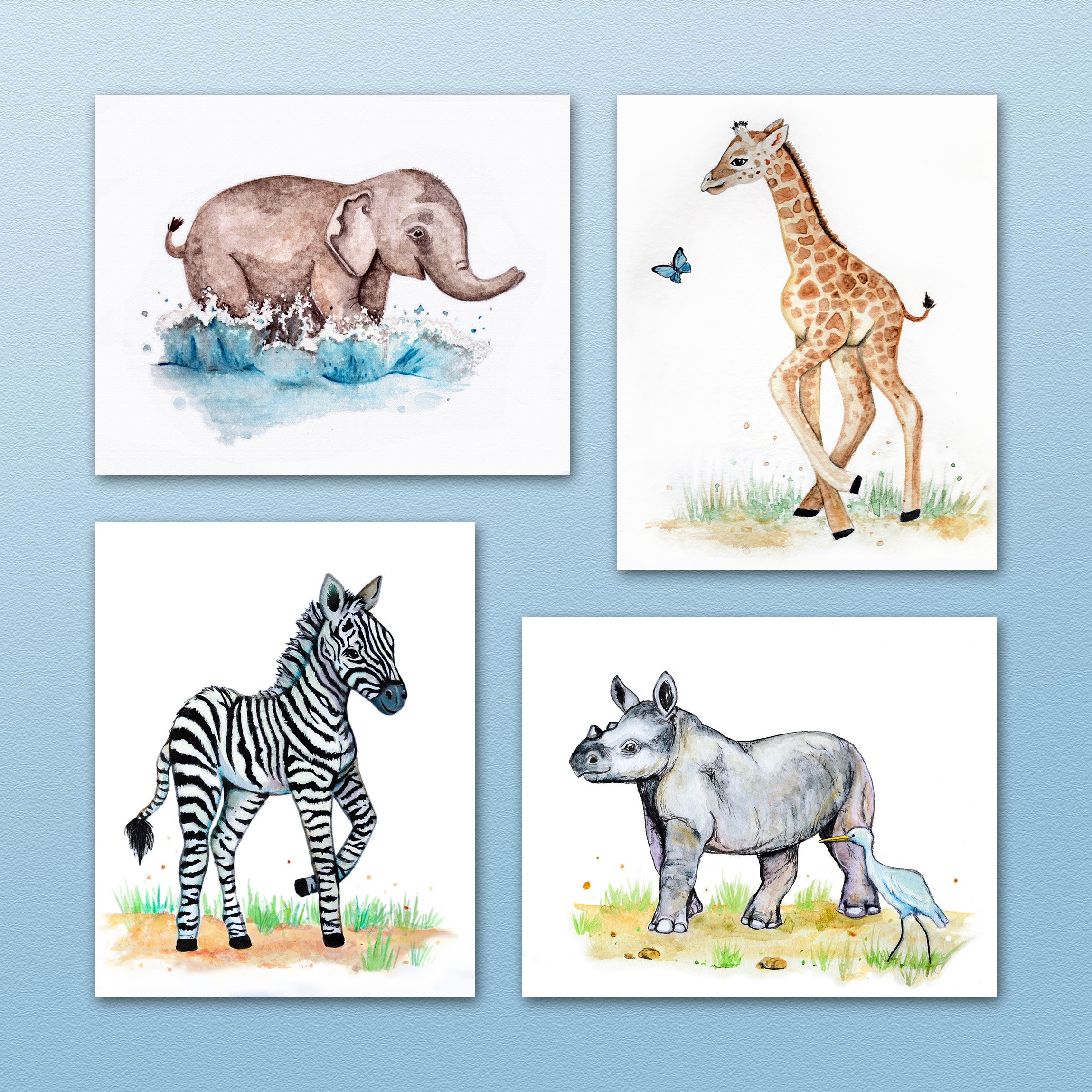 Painted Baby Safari Animals Art Prints. Home/Nursery Decor (8''x10'', (4) Set of Four) by Little Pig Studios