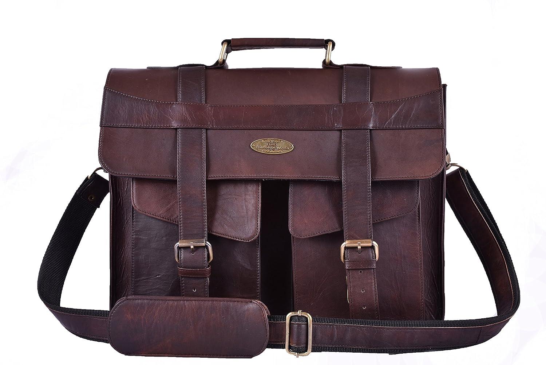 b2d3192f181 Handmade World Men Goat Leather Briefcase Messenger Bag Shoulder Crossbody  New