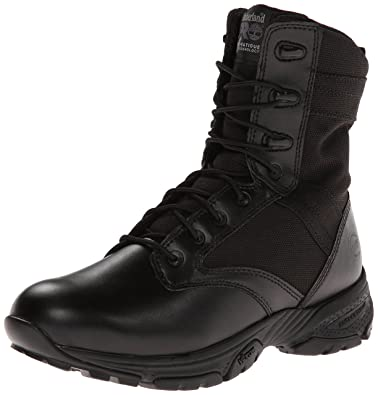 Timberland PRO Men's 8 Inch Valor Soft Toe Side-zip Duty Boot,Black Smooth