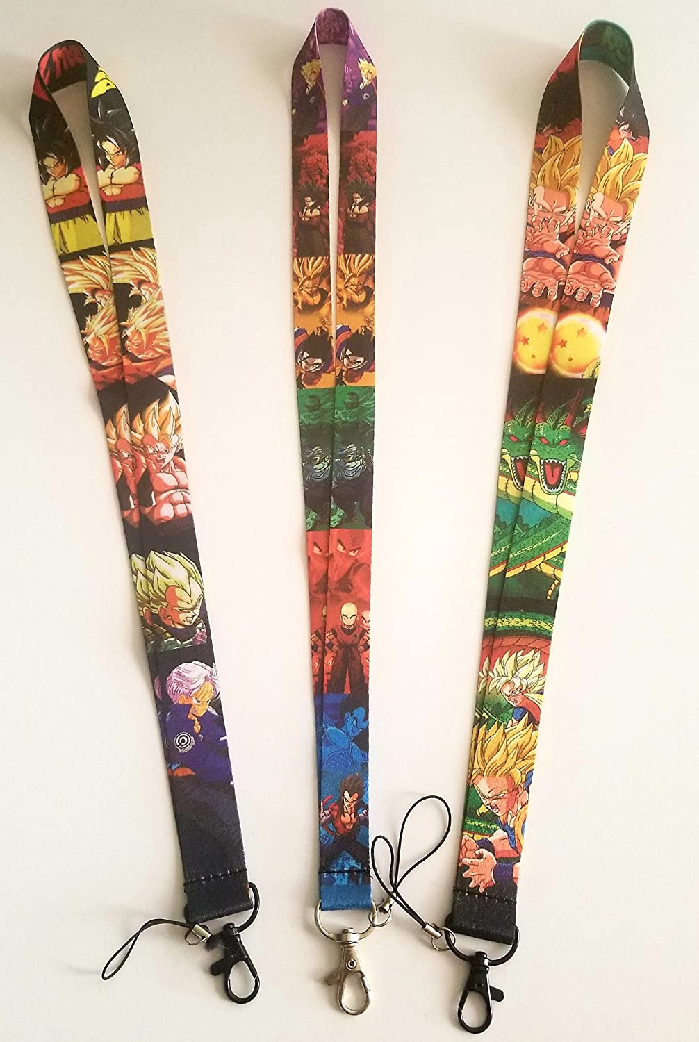 # 3 Pcs New Dragon Ball Z Lanyards Super Saiyan Son Goku Mobile Phone ID Holder Neck straps Lanyard keychain J & A Best Deals