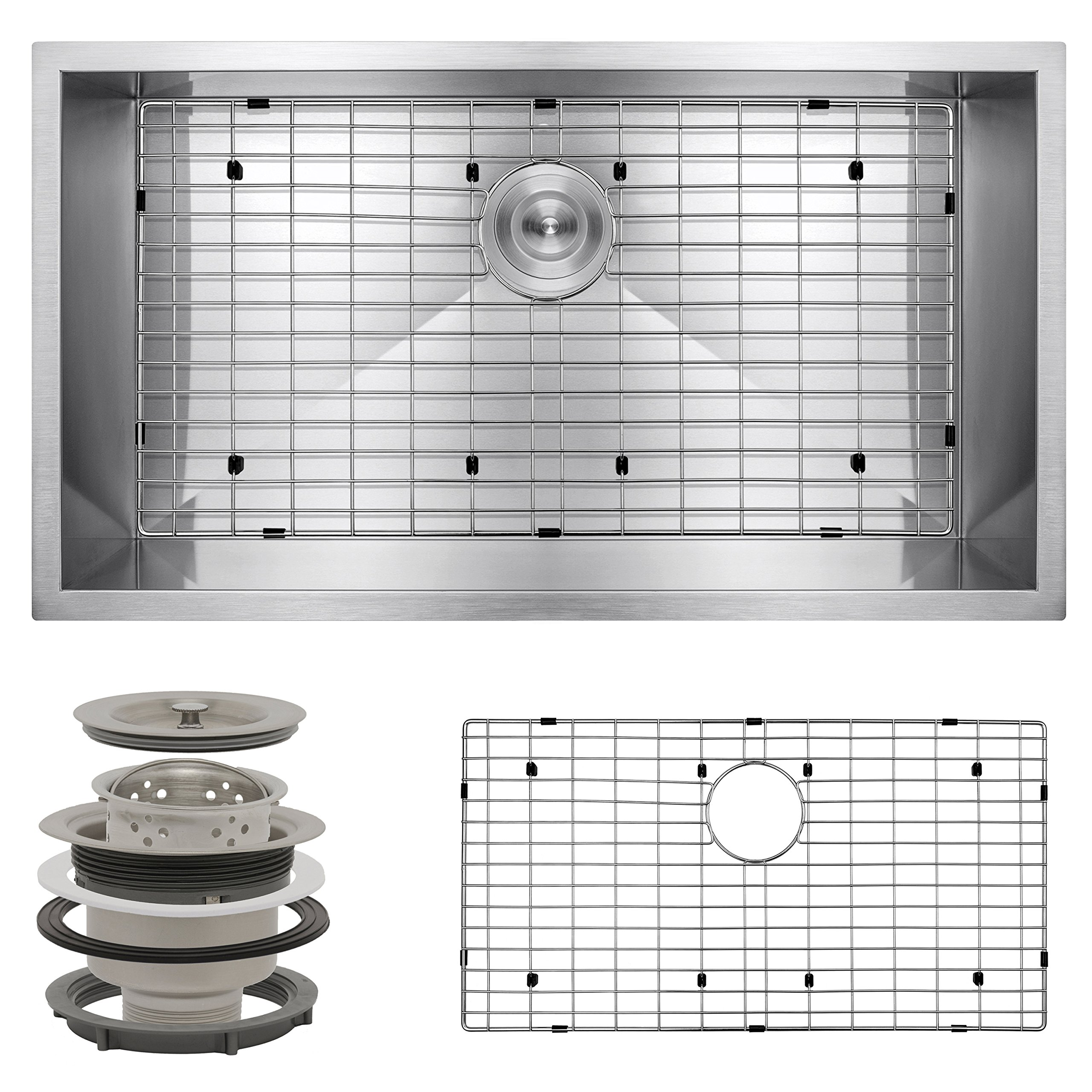 Perfetto Kitchen and Bath 32'' x 18'' x 9'' Undermount Single Bowl 18 Gauge Stainless Steel Kitchen Sink with Drain and Dish Grid by Perfetto Kitchen and Bath