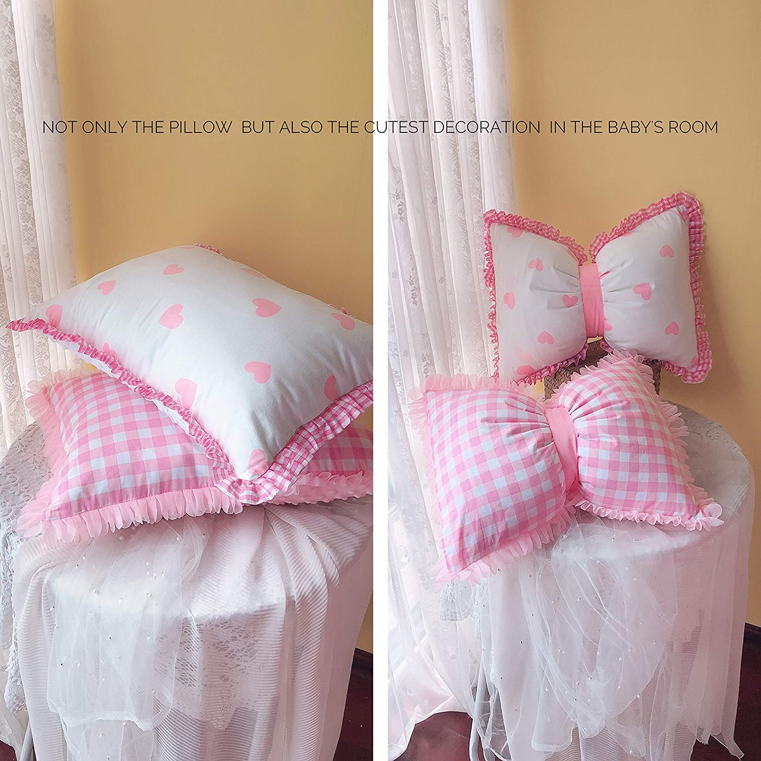 Baby Security Lace Pillowcase,facilitate Sensory Development in Infants.One Side Cotton dot Fabric,One Side with 100/% Cotton Fabric,Used in All Seasons,can be Changed Butterfly Pillows.