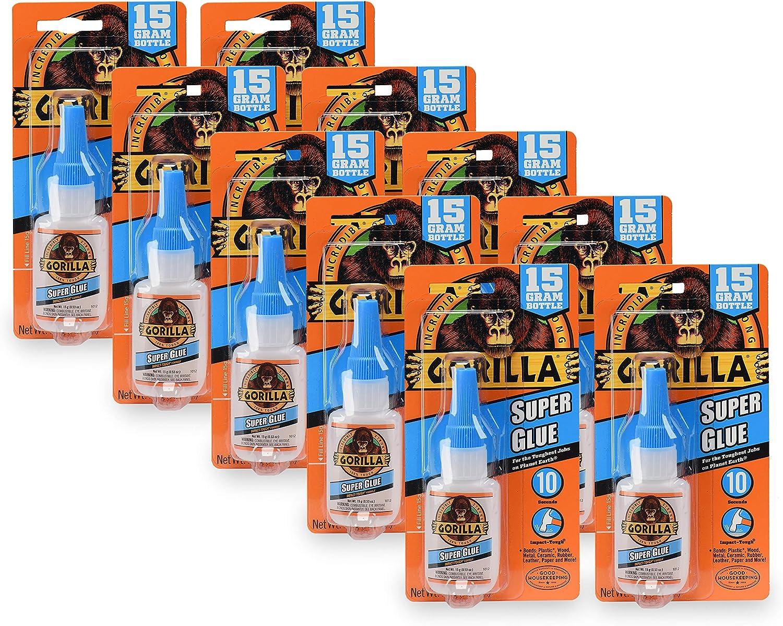Gorilla Super Glue 15 Gram, Clear, (Pack of 10)