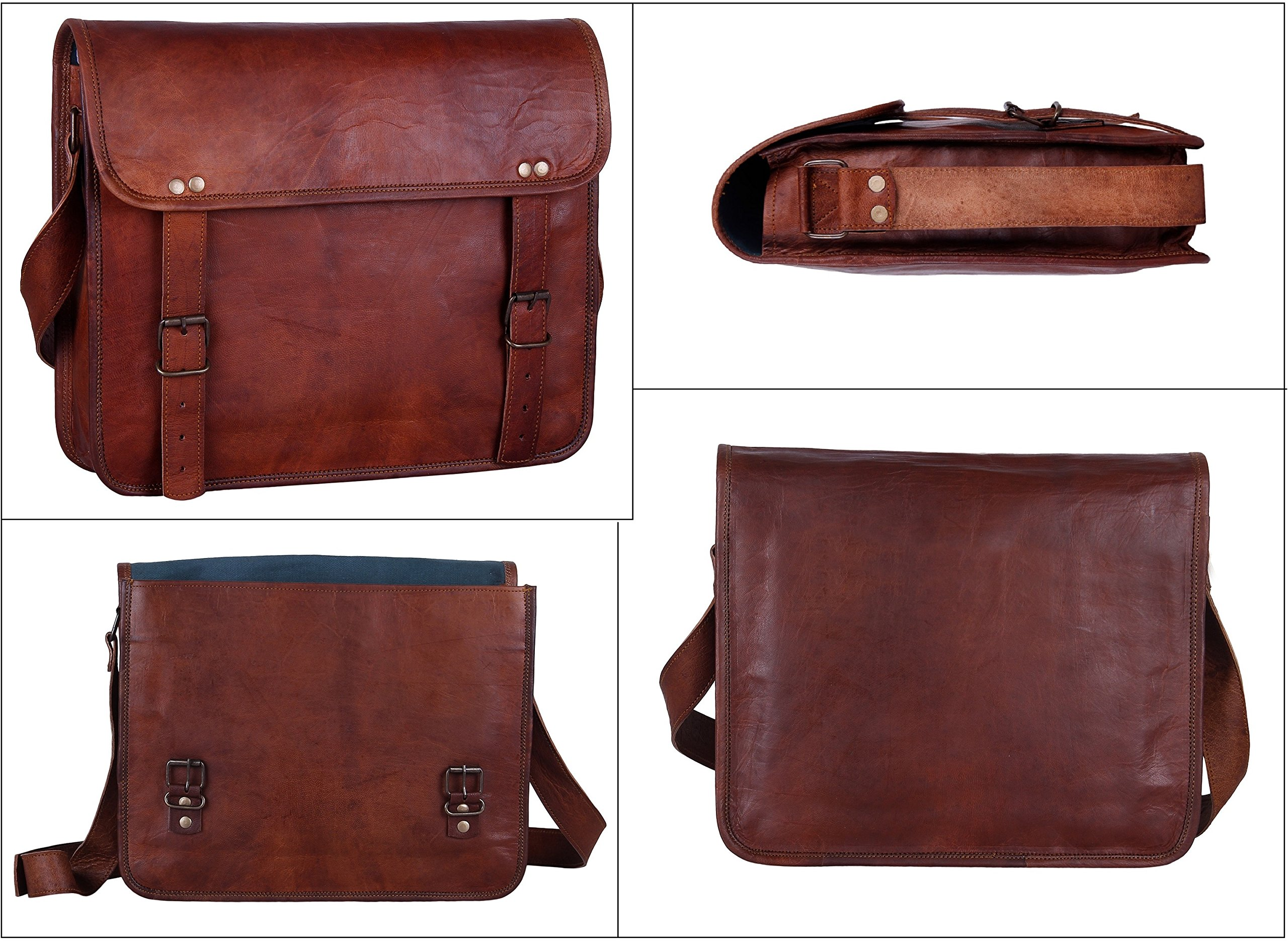 Rustic Town 15'' Genuine Leather Handmade Crossbody Messenger Satchel Laptop Bag by RusticTown (Image #5)