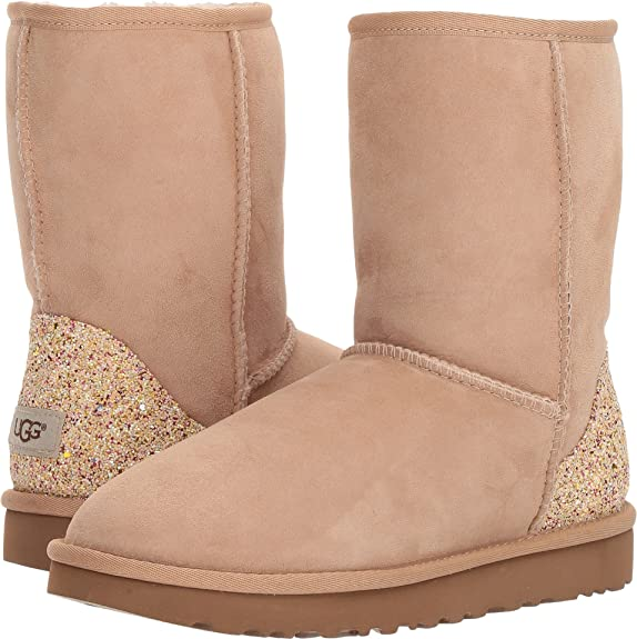 UGG Womens Classic Short Glitter Driftwood 7 B - Medium