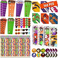 168 Pcs Halloween Party Favor Gift for Kids, 24 Pack Halloween Stationery Set with Goody Treat Bags, Halloween Bulk Toy…
