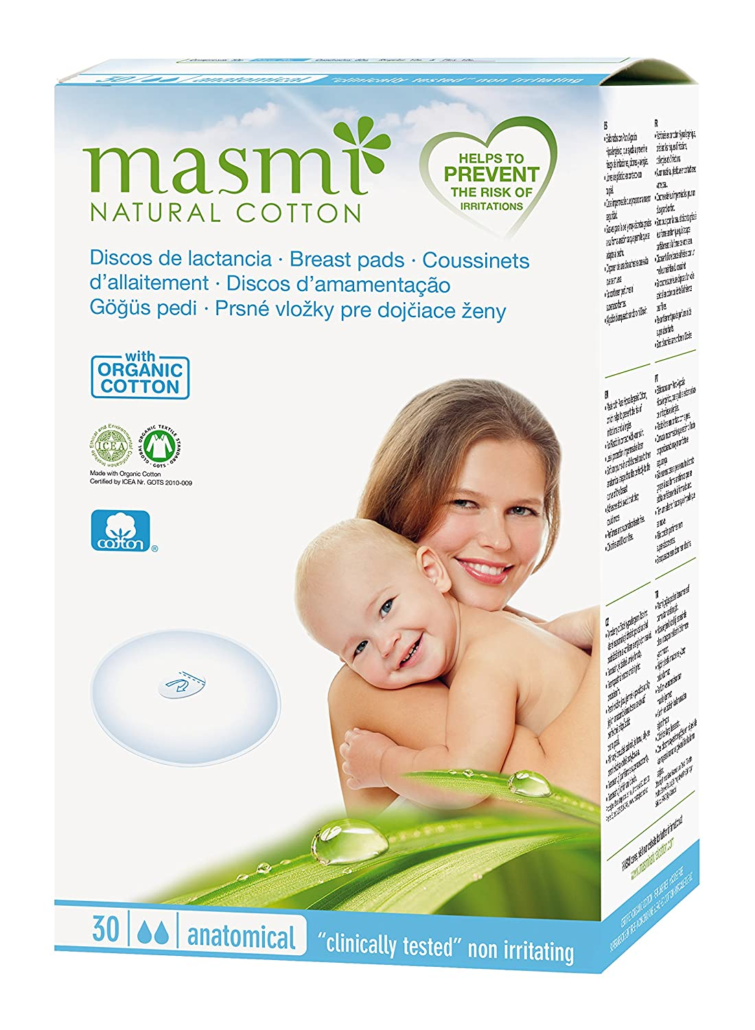 30 Masmi Breast Pads Certified Organic Cotton, Hypoallergenic, 100% Biodegradable, Perfume, Viscose, Rayon, Chlorine and Dioxin Free 5060425242275