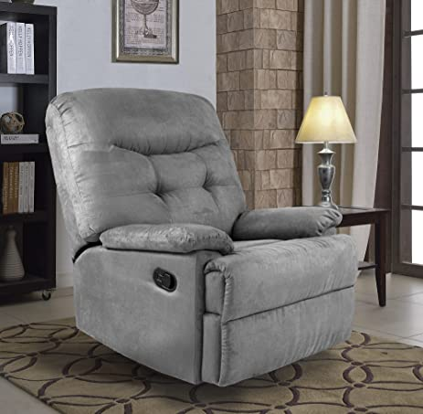 Delightful Ocean Bridge Big Jack Microfiber Recliner Chair, Grey