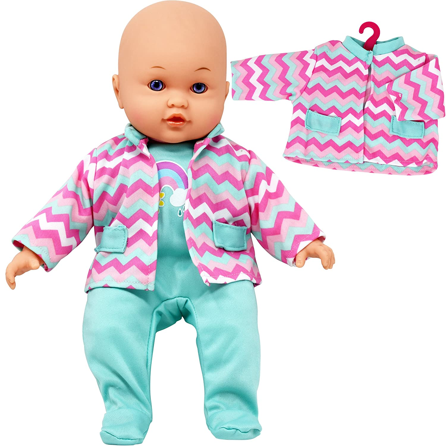 b6d7d47fc Amazon.com: Doll with Clothes Set, Baby Doll with 4 Complete Outfits and  Accessories, Blocks, Shoes: Toys & Games