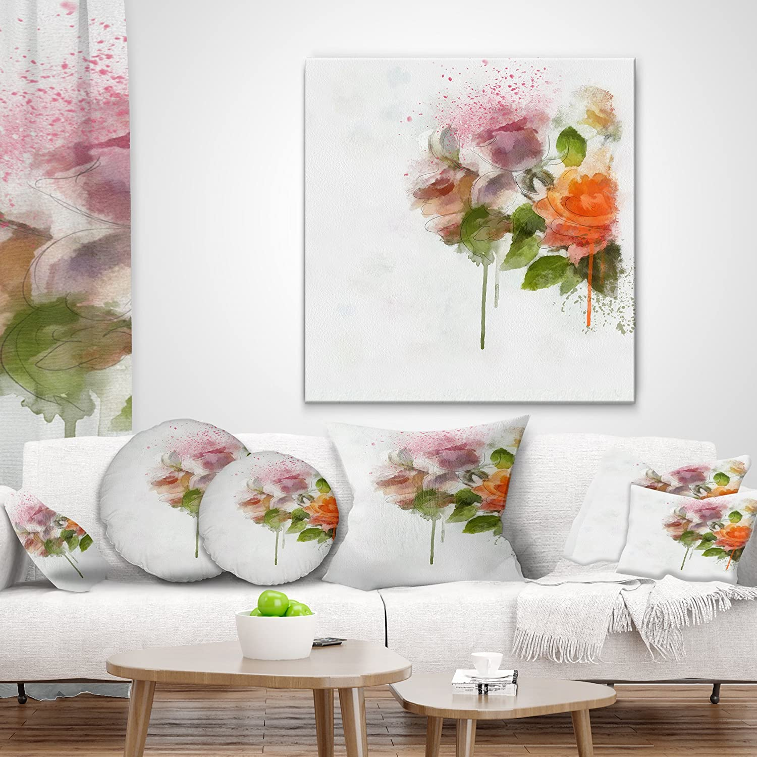 Designart CU13758-16-16 Abstract Hand Drawn Sketch Flowers Cover for Living Room Sofa Throw Pillow 16 x 16