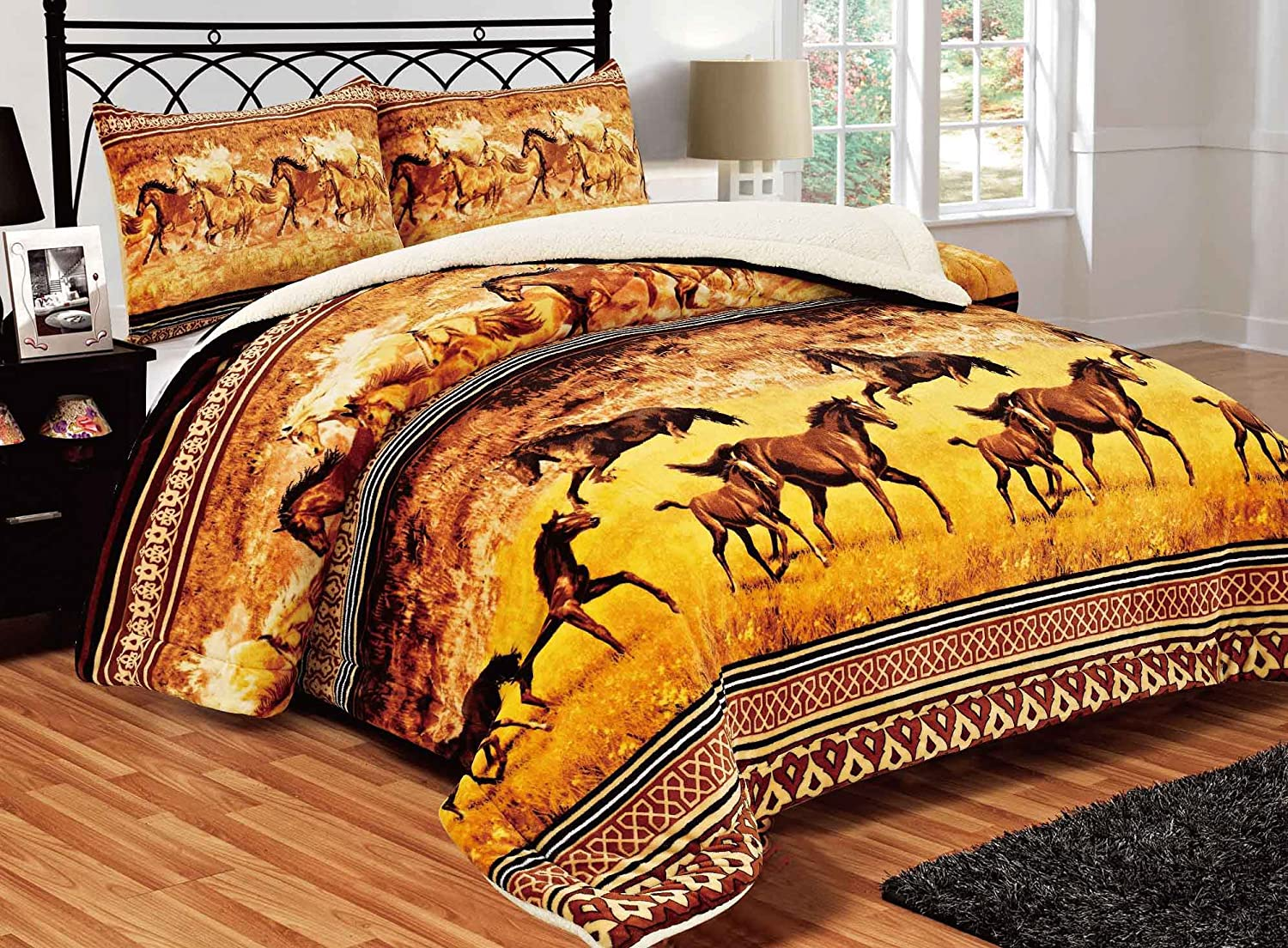 All American Collection New Super Soft and Warm 3 Piece Brown Horse Design Borrego/Sherpa Blanket Palazzo (Queen/King
